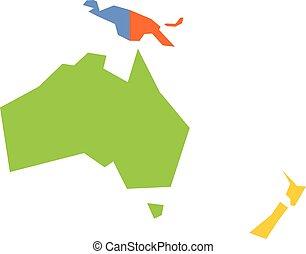 Un mapa político muy simplificado de Australia y Oceanía. Simple ilustración de vectores geométricos