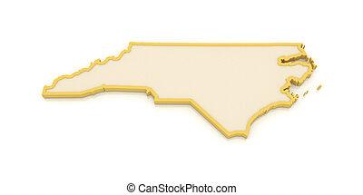 Un mapa tridimensional de Carolina del Norte. USA.