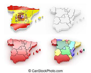 Un mapa tridimensional de España en blanco y aislado