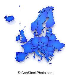 Un mapa tridimensional de Europa.