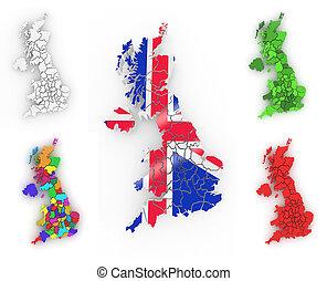 Un mapa tridimensional de Gran Bretaña
