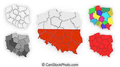 Un mapa tridimensional de Polonia