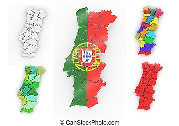 Un mapa tridimensional de Portugal