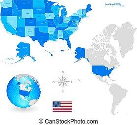 Un mapa vectorial de los Estados Unidos de América