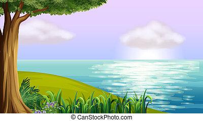 Un mar azul claro