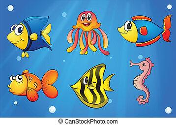 Un mar con criaturas coloridas