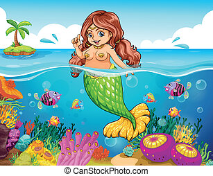 Un mar con una sirena sonriente