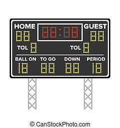 Un marcador de fútbol americano. Puntuación de deportes. Puntos digitales LED. Ilustración de vectores. Hora, invitado, casa.