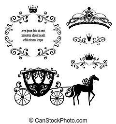 Un marco antiguo con corona, diadema de estilo ornamental y carruaje.