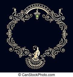 Un marco antiguo con pájaros
