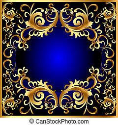 Un marco azul antiguo con un patrón vegetal