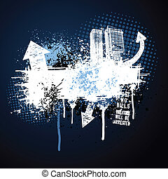 Un marco azul oscuro de la ciudad grunge