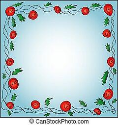 Un marco cuadrado de rosas rojas rizadas en un fondo azul