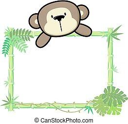 Un marco de bambú de mono bebé
