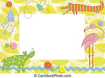 Un marco de bebé o una tarjeta. Ilustración del vector