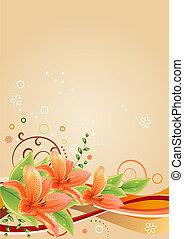 Un marco de beige primavera con lirios y elementos abstractos