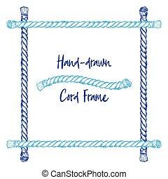 Un marco de cuerda dibujado a mano en el estilo de arte antiguo grabado aislado en fondo blanco. Para decoración, frontera, estandarte web