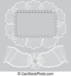Un marco de encaje decorado con perlas