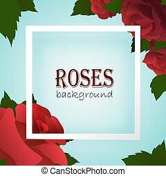 Un marco de frontera blanco en un fondo azul con rosas