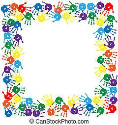 Un marco de huellas de manos coloridas