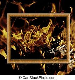 Un marco de madera en el fondo del fuego