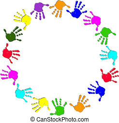 Un marco de mano colorido