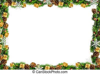 Un marco de Navidad aislado en un fondo blanco
