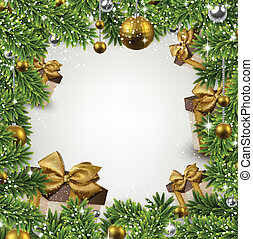 Un marco de Navidad con ramas de abeto y pelotas.