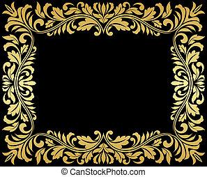 Un marco de oro con elementos florales