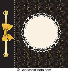 Un marco de oro en el fondo floral. Ilustración del vector.