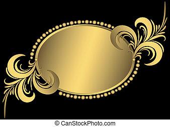 Un marco de oro ovalado