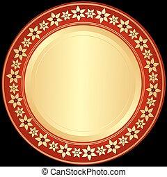 Un marco de oro y rojo