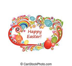 Un marco de Pascua con huevos coloridos