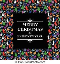 Un marco de saludo multicolor de Navidad