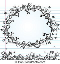 Un marco de vector de nubes Sketchy