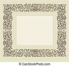 Un marco de vinculo con adornos florales