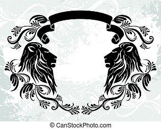 Un marco decorativo con leones