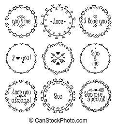 Un marco dibujado a mano de un patrón romántico con corazones. Trendy doodle estilo. Vector conjunto de elementos de diseño vintage de San Valentín. Hermosa letra simple.