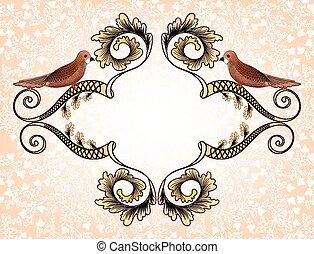 Un marco figural con pájaros
