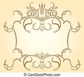 Un marco floral antiguo con corona en tonos suaves para tarjetas de felicitación, invitaciones de boda de estilo retro, diseño de publicidad con espacio vacío para el texto.