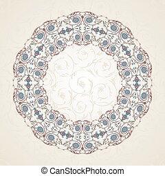 Un marco floral antiguo, ilustración de vectores