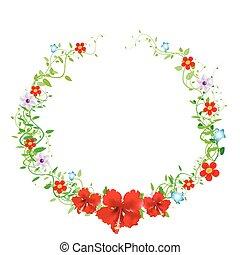 Un marco floral antiguo, ilustración vectorial