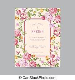 Un marco floral antiguo, por invitación, boda, tarjeta de baby shower, en vector