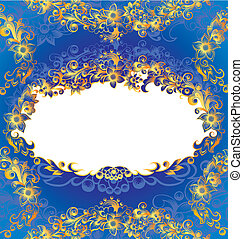 Un marco floral azul decorativo