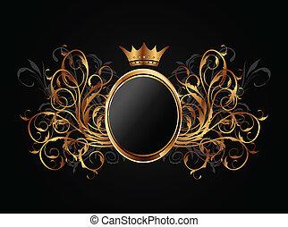 Un marco floral con corona herádica