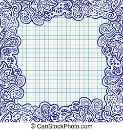Un marco floral en el cuaderno de notas