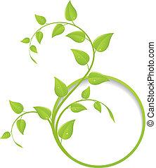 Un marco floral verde