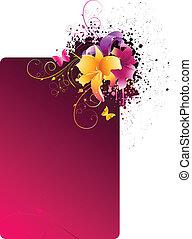 Un marco grunge con flores
