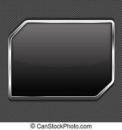 Un marco negro en un fondo de metal