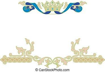 Un marco ornamental con corona